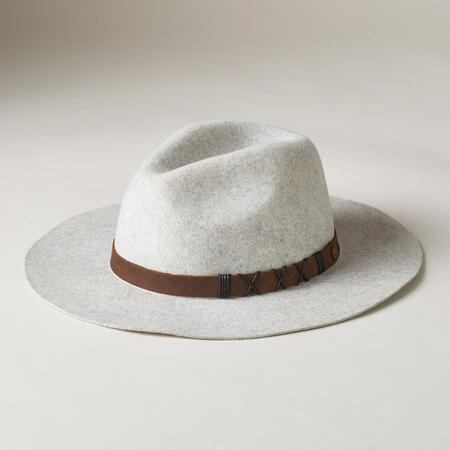 A stylish wide-brim felted wool hat sure to turn heads whenever you wear it.