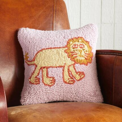 LEONIE THE LION HOOKED PILLOW
