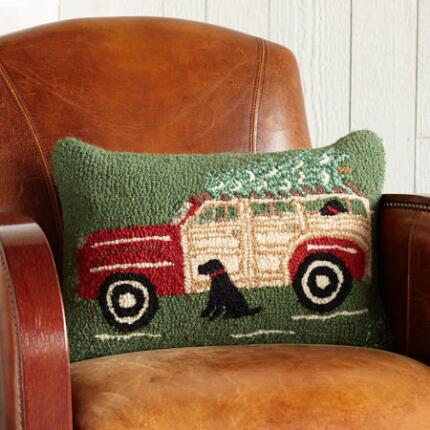 RED WAGON & TREE HOOKED PILLOW