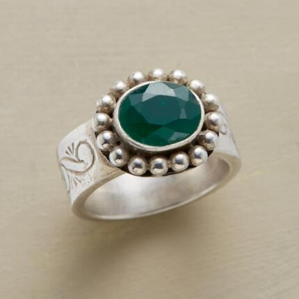 Lively with color, this juniper berry ring will add a touch of vibrancy to your ensemble.