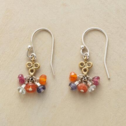 A pair of brass clover earrings, dripping with lovely gemstone color.