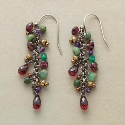 Our exclusive handmade dangling gemstone earrings, like a wearable vineyard all your own.