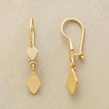 GOLD PLATED DIAMOND DUO EARRINGS