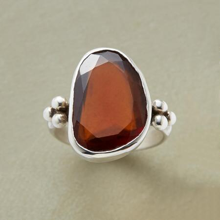 Each one-of-a-kind hessonite garnet ring brings with it an unparalleled glow.