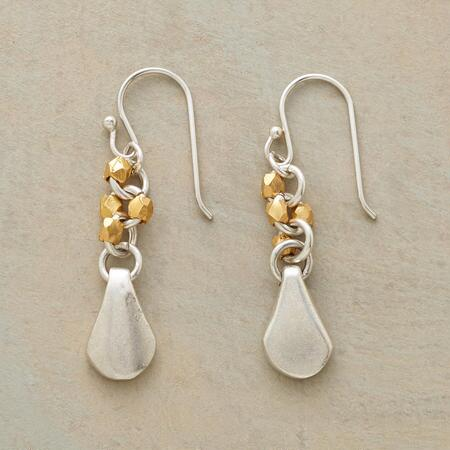 This pair of vermeil bead and silver earrings sets sterling teardrops alight with golden sparks.