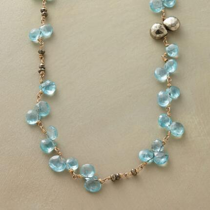 A pyrite apatite and vermeil necklace with a sharp shine and cool glitter.