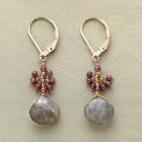 GARNET AND LABRADORITE EARRINGS