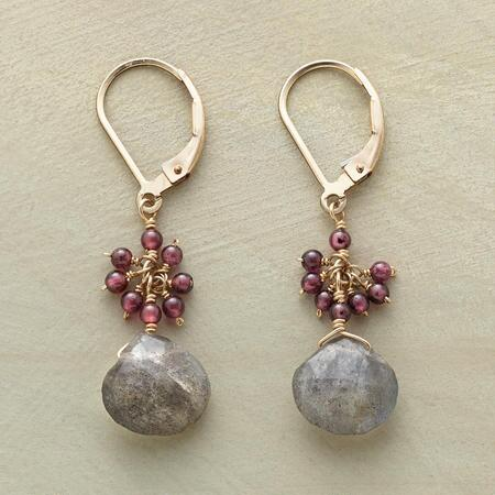 GARNET & LABRADORITE EARRINGS