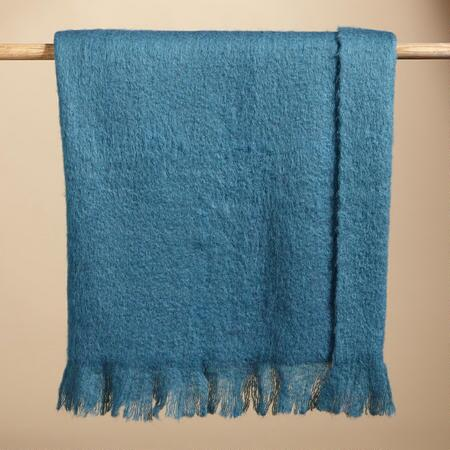 HELENA BLUE MOHAIR THROW