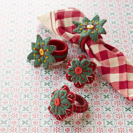 POINSETTIA NAPKIN RINGS S/4