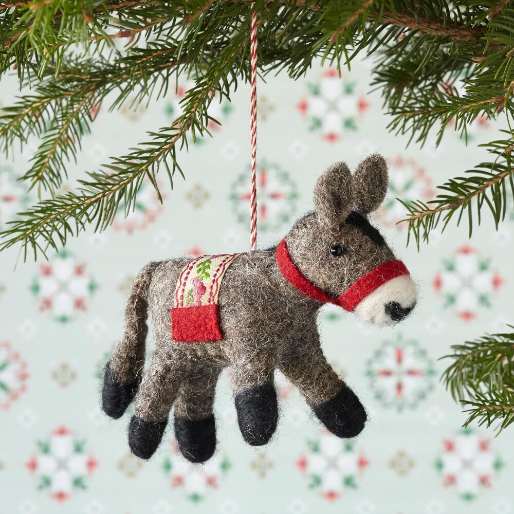 Donkey ornaments - Fernando The Felt Donkey Ornament
