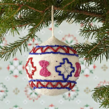BEADED FELT ORB ORNAMENT