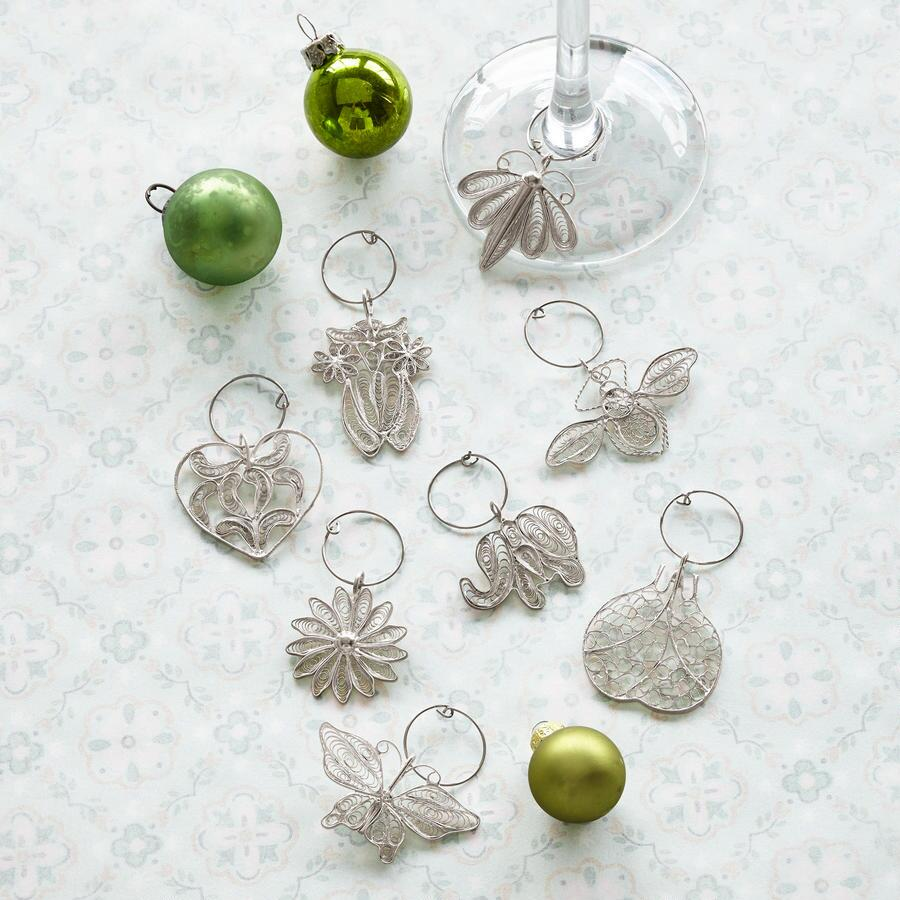 SILVER FILIGREE WINE CHARMS S/8
