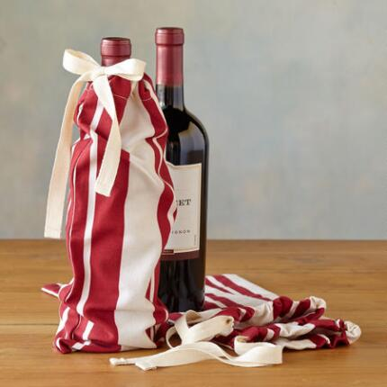 HOLIDAY STRIPE WINE BAGS S/3