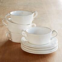 WHITEWASHED HANDLED BOWL AND SAUCER, SET OF 4