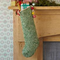 GREEN DIAMONDS HAND KNIT STOCKING