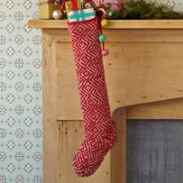 RED DIAMONDS HAND KNIT STOCKING