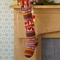 HEARTS & STRIPES HAND-KNIT STOCKING