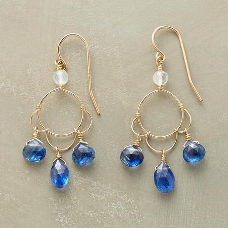 A pair of Thoi Vo moonstone and kyanite earrings that dangles and glimmers gracefully.
