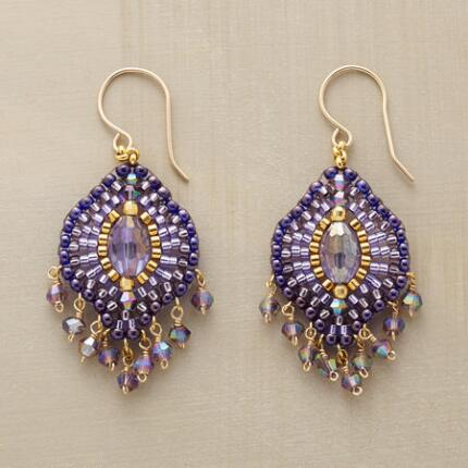 This stunning pair of Miguel Ases stained glass earrings sports a fringe of flirty dangling beads.
