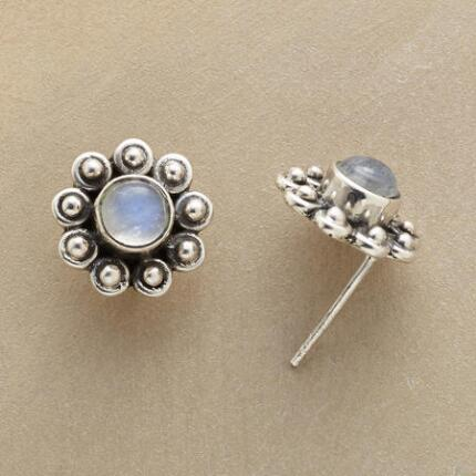 These labradorite flower stud earrings bloom with cool beauty on the ear.