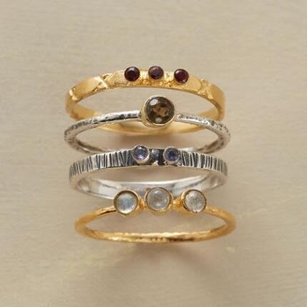 Each band in this handcrafted galaxy rings set is lovely on its own, but together they are stunning.
