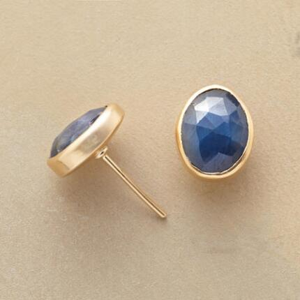 These blue sapphire stud earrings boast a color so full it seems to nearly spill over its bezels.