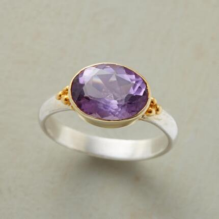 Add a touch of romance to your ensemble with this handmade amethyst silver ring.