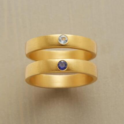 Simple yet eye catching, this aquamarine & iolite ring set is eminently wearable.