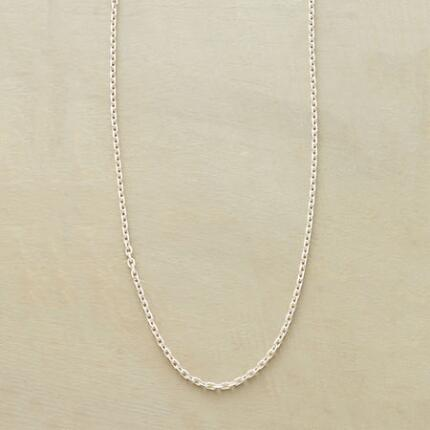 This sterling chain necklace awaits the charms or pendant you most prefer.
