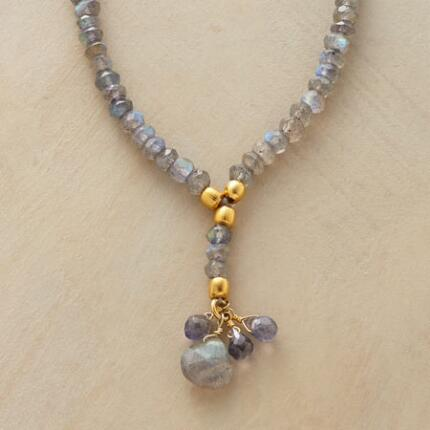 A labradorite and vermeil necklace that glows and flashes enchantingly.