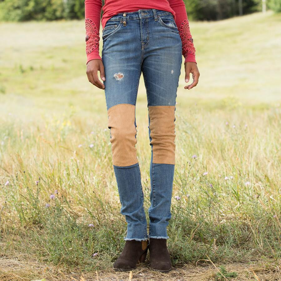 SUEDE PATCH JEANS