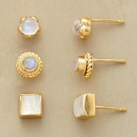 A simple but gorgeous moonstone and vermeil stud earrings set that positively glows.