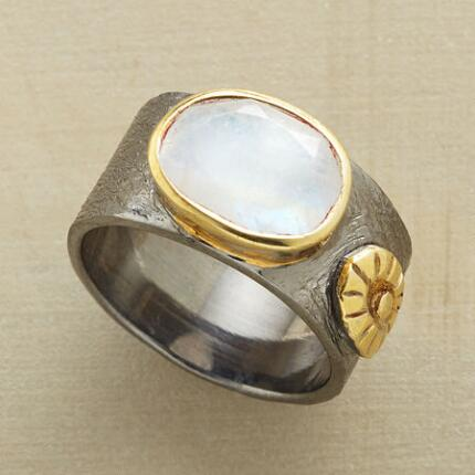 A faceted moonstone ring with a bold design unlike anything you'll find elsewhere.