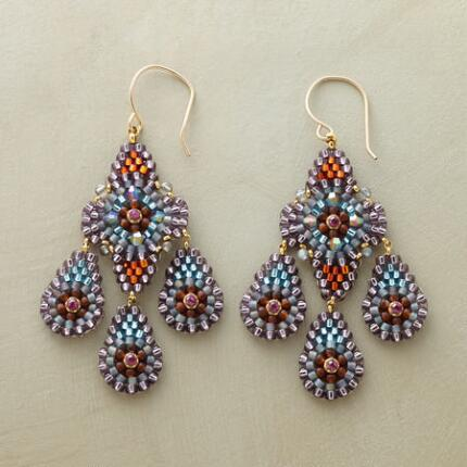 Delicately ornate, yet bold, these Miguel Ases beaded mosaic earrings are simply stunning.