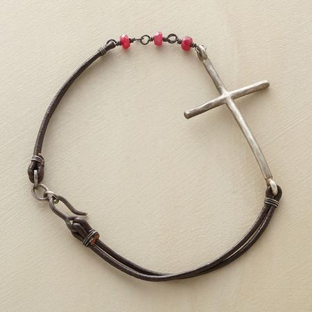 LEATHER RUBY CROSS BRACELET