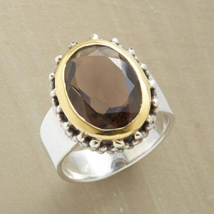 This smoky quartz ring exudes a handsome mystique that will turn heads.