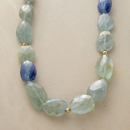 A long aquamarine and kyanite necklace, fresh as a sweet ocean breeze.