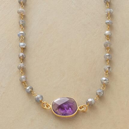 An amethyst and labradorite necklace that will add a pretty glow to any ensemble.