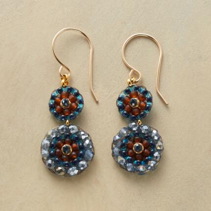 The colors of these dangling beaded mosaic earrings play in a spectrum with a subtle allure.