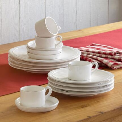 WHITEWASHED DINNERWARE, 16-PIECE PLACE SETTING