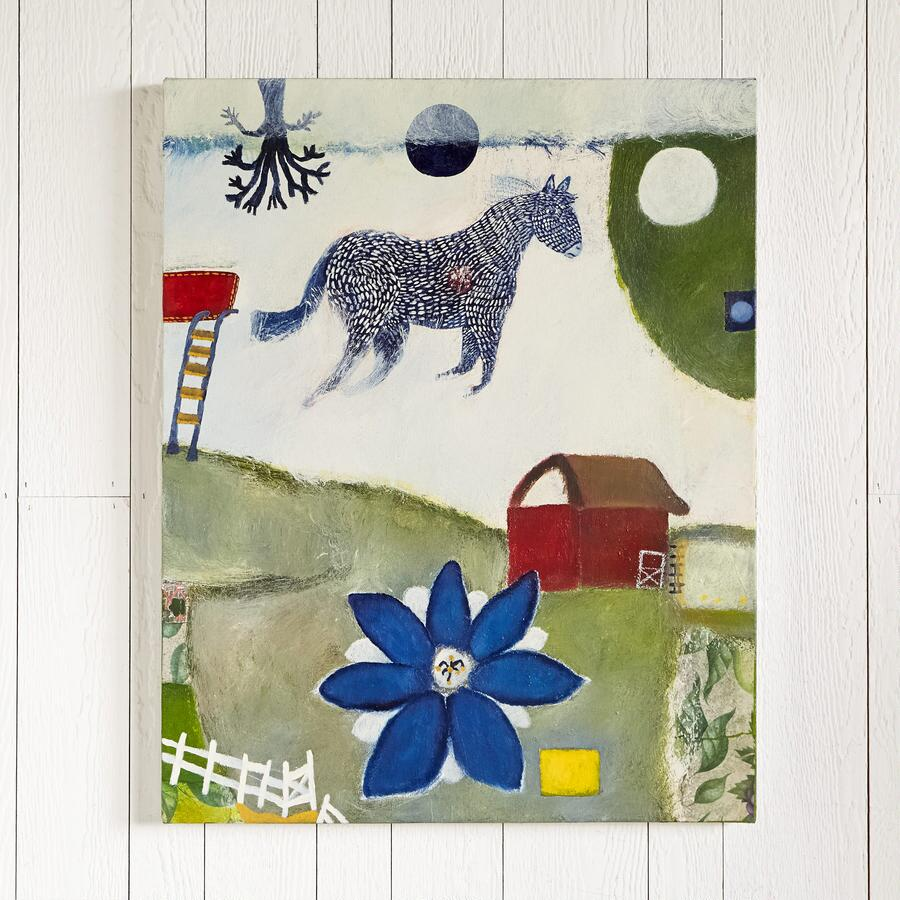 HORSE AND TWO MOONS PAINTING