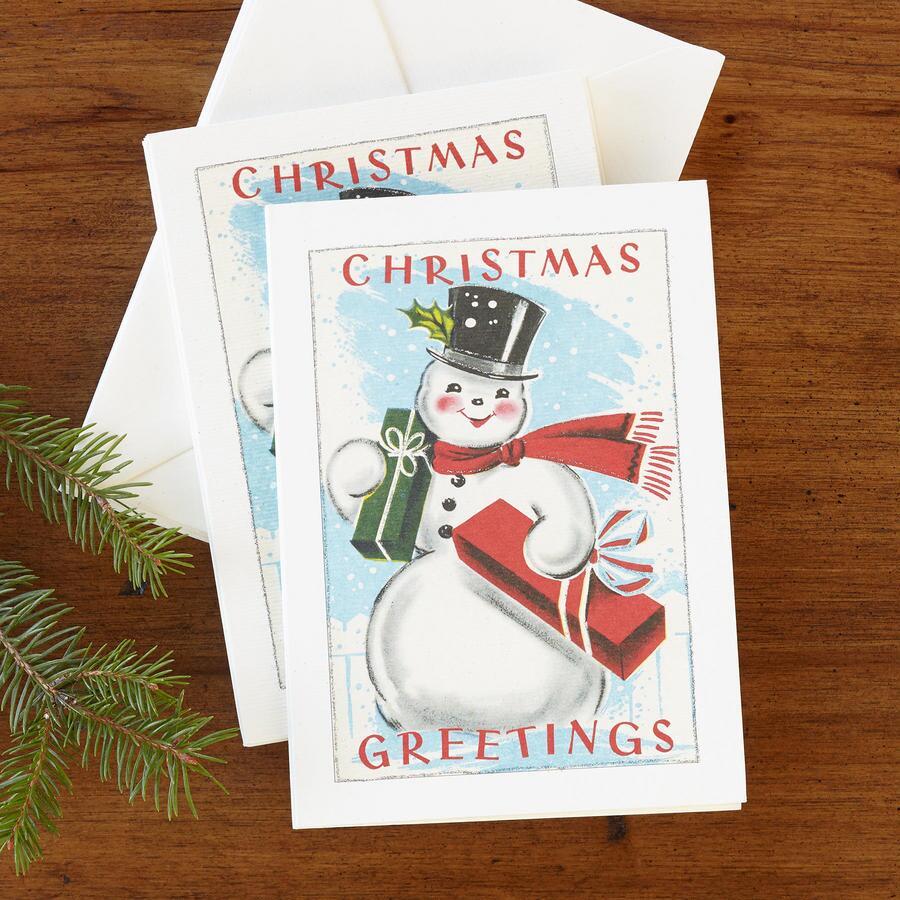 VINTAGE SNOWMAN GREETING CARDS, SET OF 10