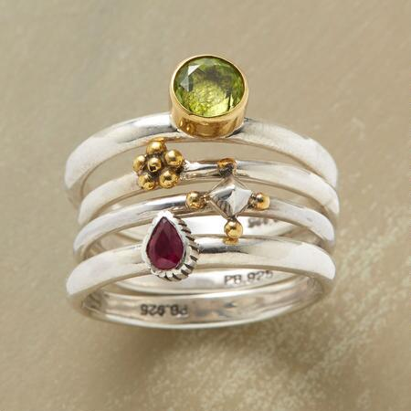 This ruby & brass peridot stack ring assembles diverse materials to beautiful effect.