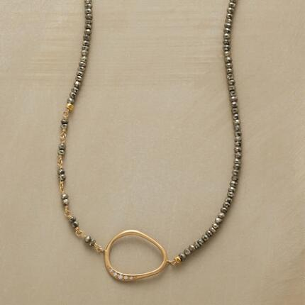 PYRITE HOOP NECKLACE