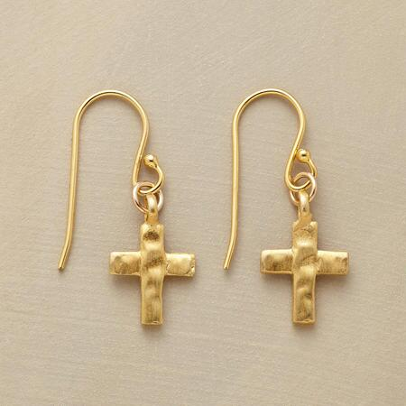 HEWN CROSS EARRINGS