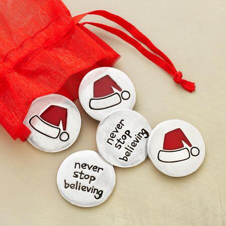 BELIEVE IN SANTA TOKENS, SET OF 5