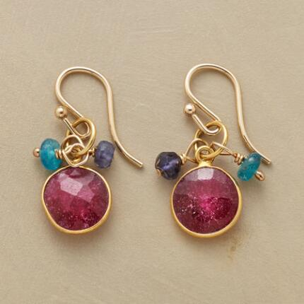 These ruby and gemstone bead earrings will lend a touch of vivacity to any ensemble.