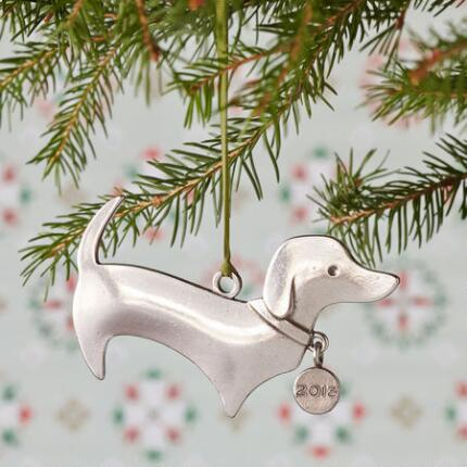 DELPHINE THE DACHSHUND PEWTER ORNAMENT