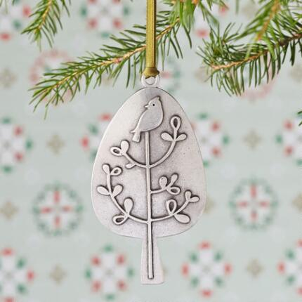 PARTRIDGE IN A PEAR TREE PEWTER ORNAMENT